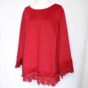 Isaac Mizrahi Neoprene Red Lace Trim Blouse 3X
